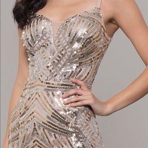 🆕NWT Elegant Full Length Sequin Art Deco Dress
